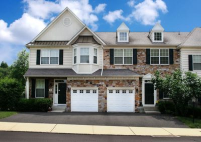 Heritage Orchard Hill Front View of Ashwood 3 Bedroom Townhomes with Garage in Perkasie, PA