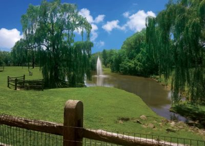 Heritage Orchard Hill Pet Park Pond with Fountain in Perkasie, PA
