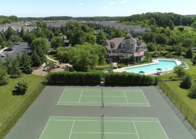 Heritage Orchard Hill Aerial View of Clubhouse and Tennis Courts in Perkasie, PA