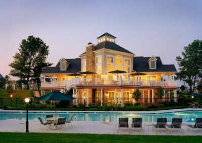 Heritage Orchard Hill Evening View Clubhouse and Swimming Pool in Perkasie, PA