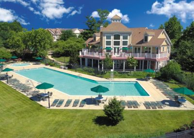Heritage Orchard Hill Aerial View of Community Swimming Pool and Clubhouse in Perkasie, PA