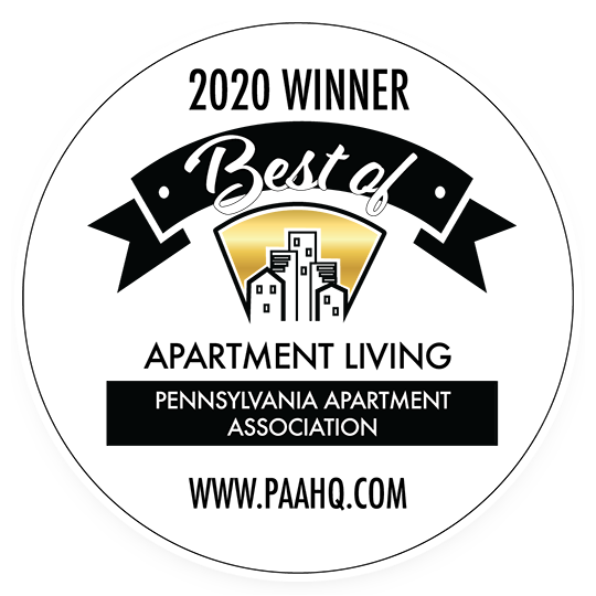 2020 Winner of Best or Apartment Living Award by the Pennsylvania Apartment Association